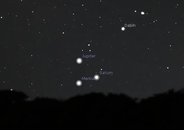 Jupiter, Saturn a Merkúr v konjunkcii